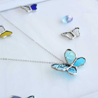 Stained glass necklace 【Blue butterfly】