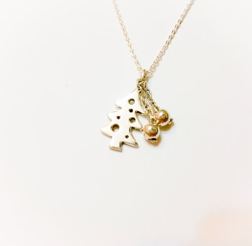[Christmas] Christmas tree silver necklace handmade / clavicle chain / gift / anniversary / Valentine's Day