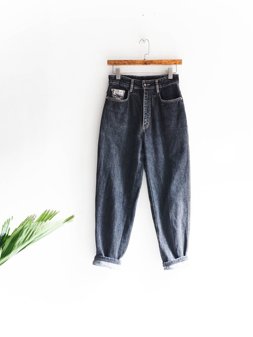 River Hill - Tochigi clean and pure dark month lake star-shaped straight denim waist ab antique pantyhose / enim pants vintage