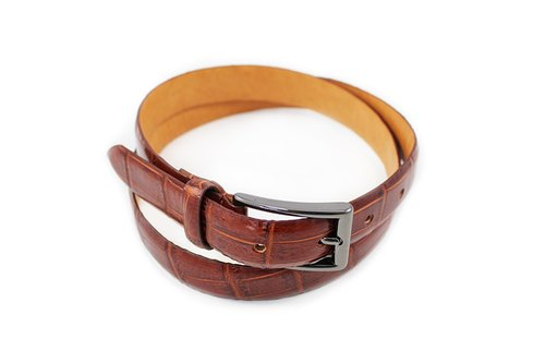 RECUNI embossed crocodile leather dyed black silver buckle red coffee