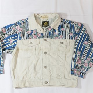 [3thclub Ming Ren Tang] Lee denim jacket short version of the full version of Flower Patchwork 80s style Lees-004
