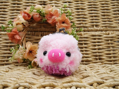 Knitting animal mini purse mouth gold package - pig