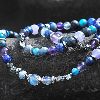 Dream Nebula __ Natural Stone Rosary Silver Bracelet Elongated Phosphorus Green Gold Moonstone Pyrite Amethyst