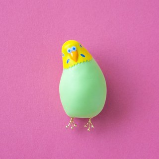 Cocking parakeet brooch [green]