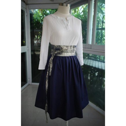 Handmade by Cherry Everyday Hanbok Life Hanbok - Deep Blue Ink Style Hanbok Skirt High Waist Skirt