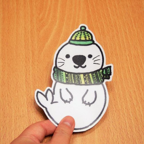 CATxKUMA waterproof stickers - seal (green)