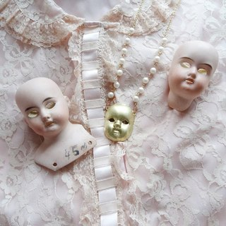 Doll face necklace Harajuku kawaii Girly Vintage antique