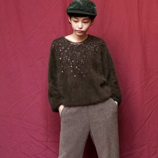 Pumpkin Vintage. Ancient brown hand embroidered sequined rabbit fur pullover sweater