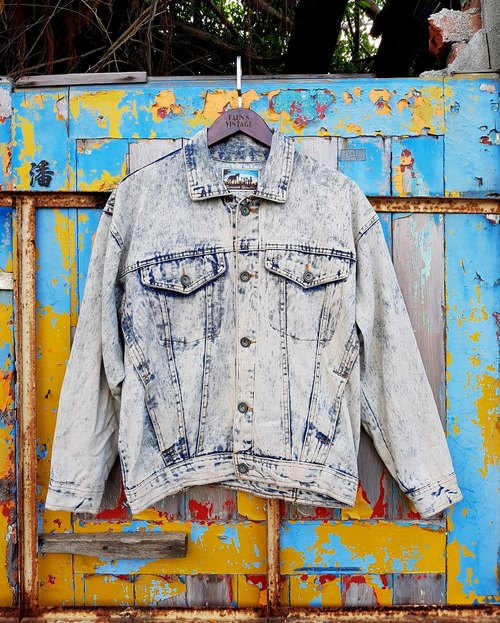 Turtle Gege - snow vintage washed denim jacket VINTAGE tannins