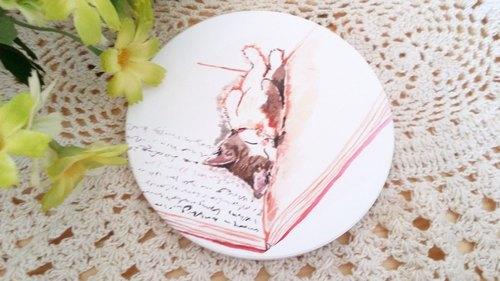 Yingge ceramic water coaster - sleeping cat series. Is to sleep