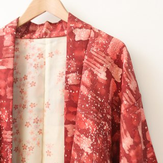 Vintage Japanese made red snowflake and wind print vintage feather kimono jacket blouse cardigan Kimono