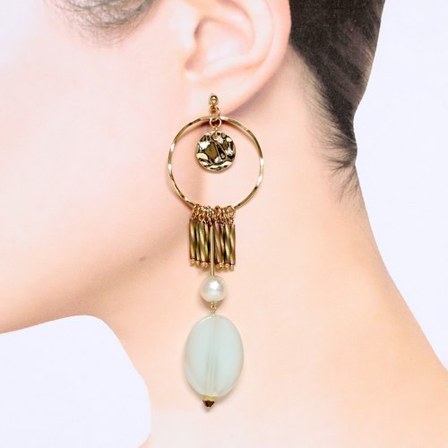 [Cleopatra] beads earrings asymmetry