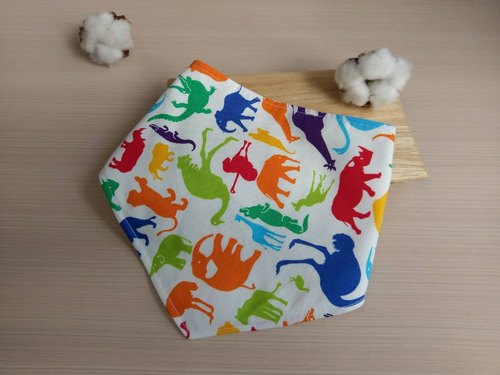 Jungle Animals Series - Color Impression - infant baby cotton triangle scarf / bibs / four yarn (color)