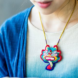 Dragon's successor Chinese animal beast pure hand embroidery cartoon cute coral bead necklace baby birthday gift