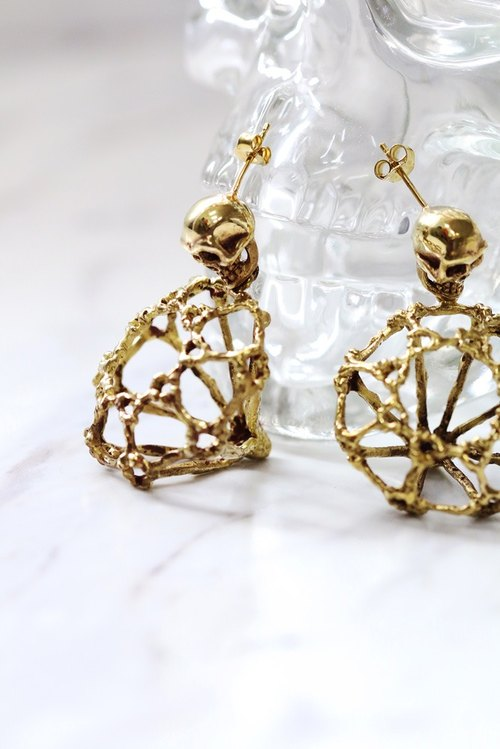 Rough Diamonds Skull Collection - The Uncommon Defy Project - Brass - Skull Diamond Skeleton Earrings - UCBE103 - Original by Defy.