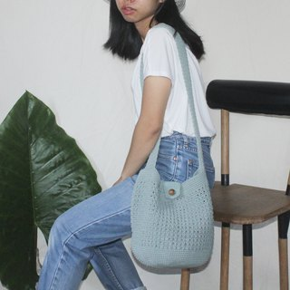 Shoulder Crochet Bag ,Cross body bag ,Bucket Bag ,handcrafted ,Grayish Blue