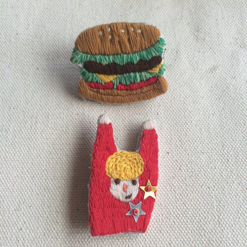 C'est trop Mignon \\ handmade embroidery embroidery * heroes eat hamburgers pin