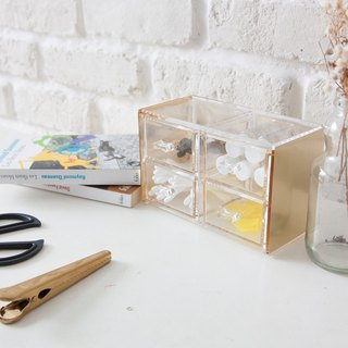 Copper Color Acrylic Stackable Organize 4 Drawers (Gold)