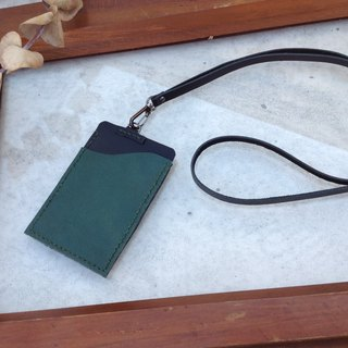 Identification card. Document holder, Easy card holder, Hanging neck, hand-stitched, leather. Dark green + black