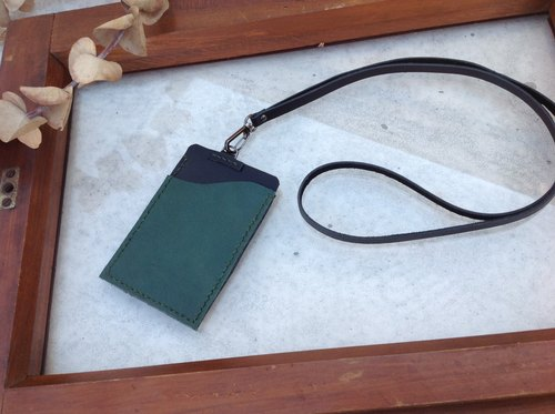 Badge. Documents folder, a money card sets, Halter, hand-sewn leather. Dark green + black
