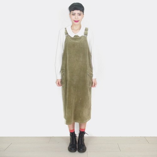 After the army green corduroy vintage dress sling AW6020