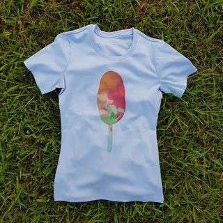 Round neck T-shirt (blue / pink) - female