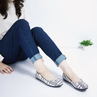 Soft-soled non-slip baby shoes - Plaid block - Lunar gray