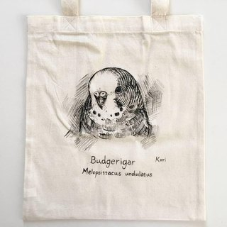 Pure hand-painted bird cotton shopping bag ‧ budgie