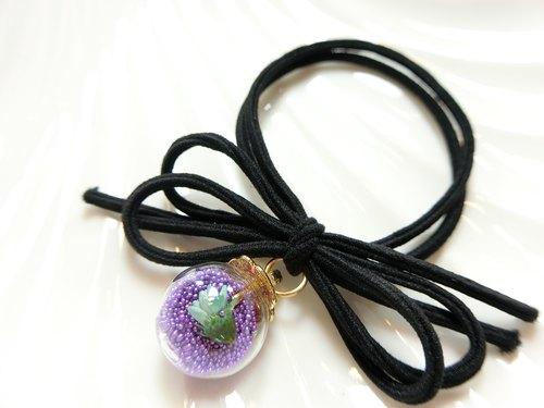 Whirring round crystal clear glass ball & bow high elastic double strand tress - (soft purple beads)