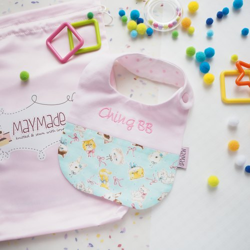 """Togetherness""Handmade Name Embroidery Baby Bib - Pink with Green Kitten & Rabbit Style"