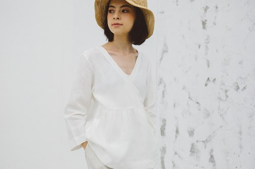 Linen Wrap top with Long sleeves in White