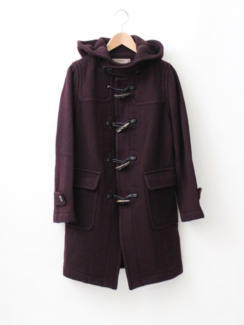 [RE1204C366] Nippon Slim dark purple red vintage horn button overcoat