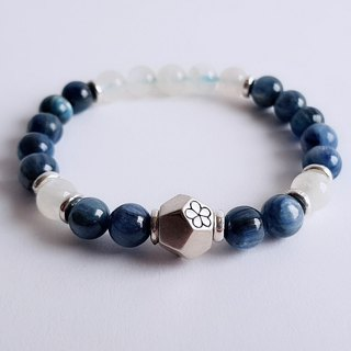 Gemstone ‧ Blue Moon . Natural Mineral Kyanite Moonstone 925 Silver ‧ Bracelet