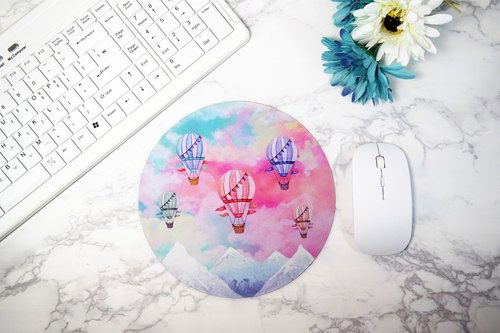 Round Mouse Pad Pink Mousepad Cute Mouse Mat Colorful Watercolor Balloon Desk Accessories