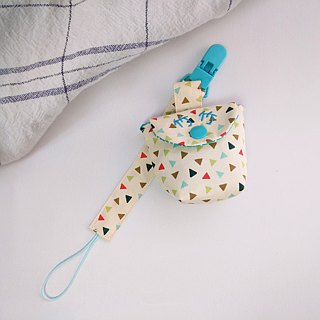 Fresh color triangle. Pacifier storage bag + pacifier chain set (up to 40 embroidery name)