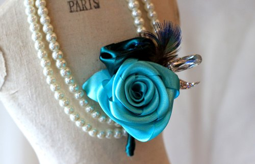 Handmade ribbon rose corsage [series] ocean blue