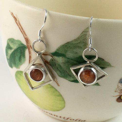 Natural Gemstone Sunstone Sterling Silver earrings