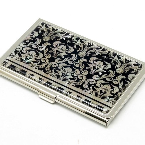 Business card card case natural shellfish specification (damascene) <Raden Art>