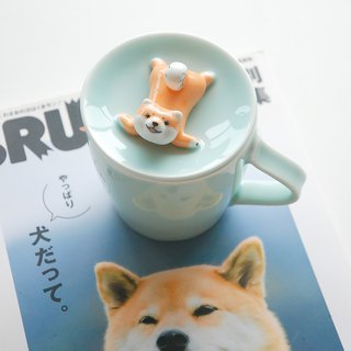 Sanshine pottery original design Shiba Inu cover cup flower tea milk cup coffee cup ceramic gift three-dimensional