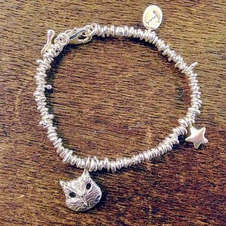 emmaAparty sterling silver bracelet 'mask mask cat