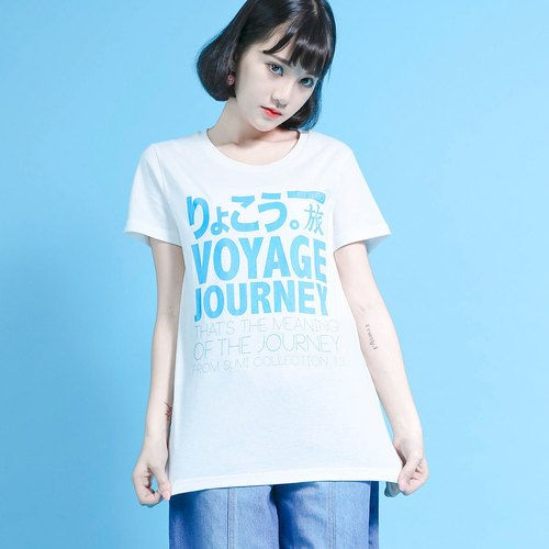 Travel Travel Language T-shirt_Wide__6SF003_White/Sky Blue