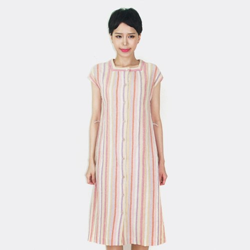 Pink stripes vintage cotton short-sleeved dress AN8018