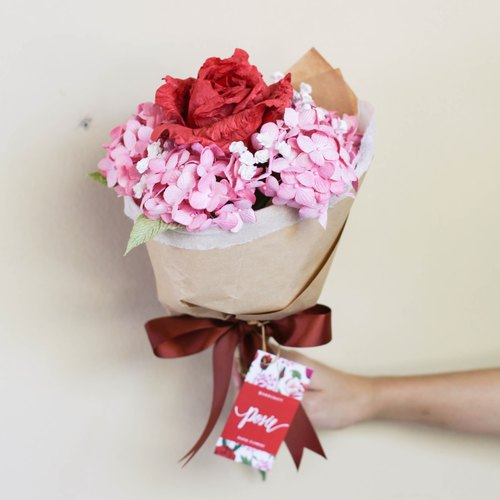 Red Rose, Rose with Hydrangea Single Bouquet |. Valentine's Collection