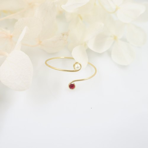 Simple Swarovski Diamond Ring - Rose Red