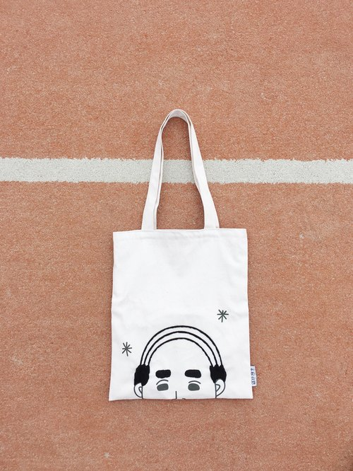 Bald head | embroidered shoulder canvas bag