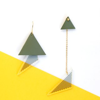 handmade original design green triangle 925 pure silver gold plated earring