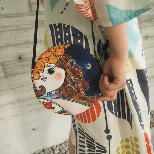 Japanese Wo bun buns small round bag oblique round bag / shoulder / hand / hand-painted texture printing