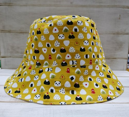 Mustard yellow panda rice balls & beige pattern double fisherman hat (custom child section)