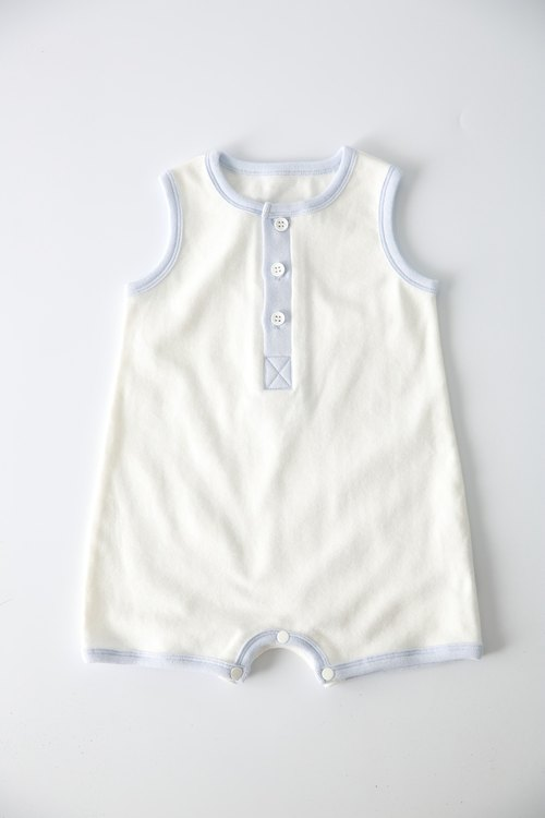 Organic cotton. Fenghua Department of the body of the boy package fart clothing - white (0-6M)