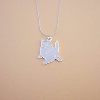 WHITE WISH cat necklace